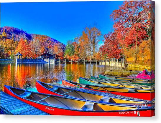 Canoe In Waiting Canvas Print