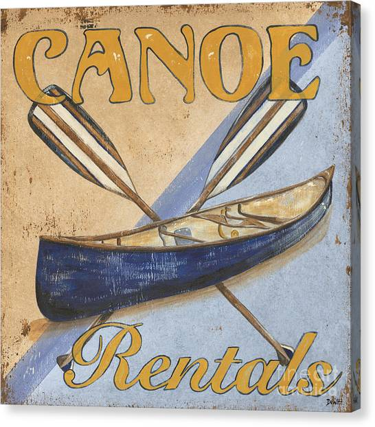 Bass Fishing Canvas Print - Canoe Rentals by Debbie DeWitt