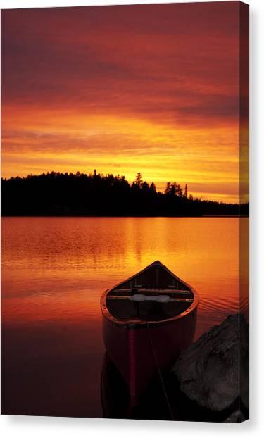 Canoe Sunset Canvas Print
