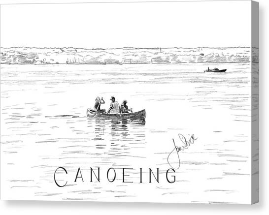 Canoeing On The Lake Canvas Print by Jan Stride