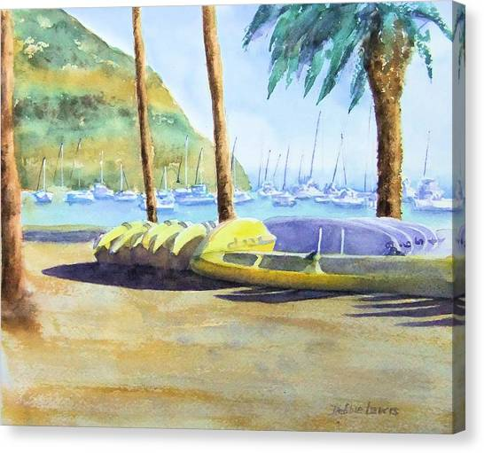 Canoes And Surfboards In The Morning Light - Catalina Canvas Print