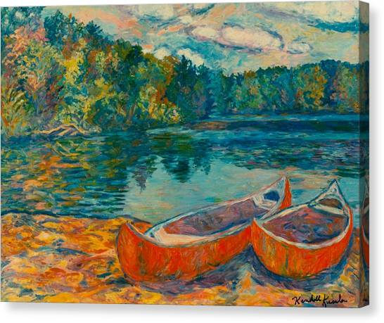 Canoes At Mountain Lake Canvas Print