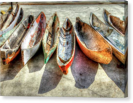 Dock Canvas Print - Canoes by Debra and Dave Vanderlaan