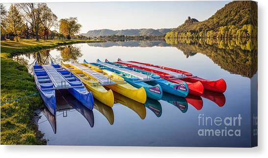 Canoes In The Early Morning II Canvas Print