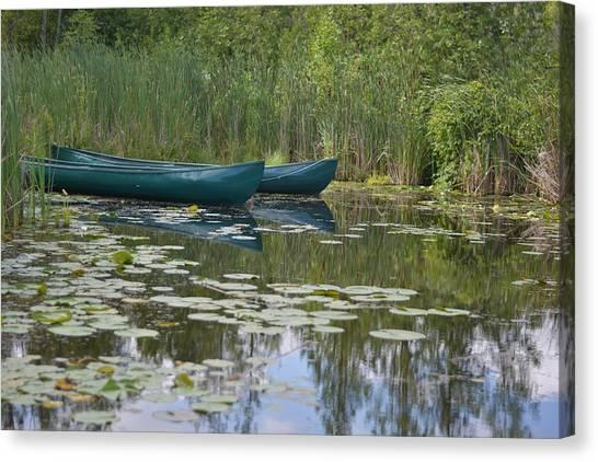 Canoes On Marshland Canvas Print