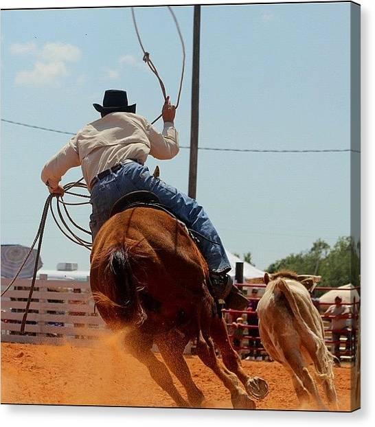 Rodeos Canvas Print - #canon #cowboy #actionshots #roper by Lisa Yow