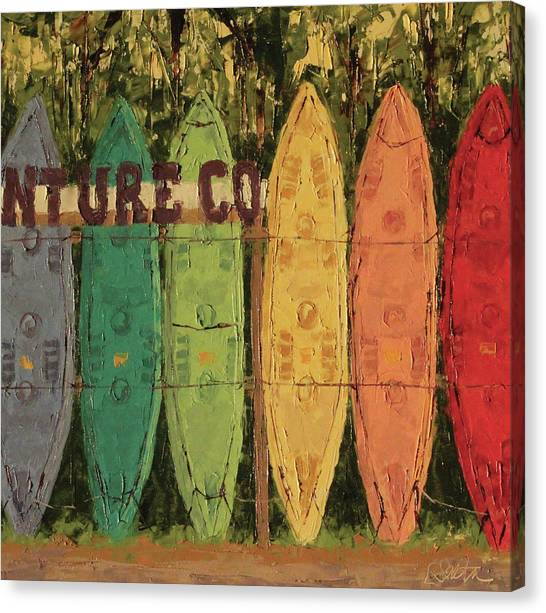 Surfboard Canvas Print - Canos Of Sandbridge by Leslie Saeta