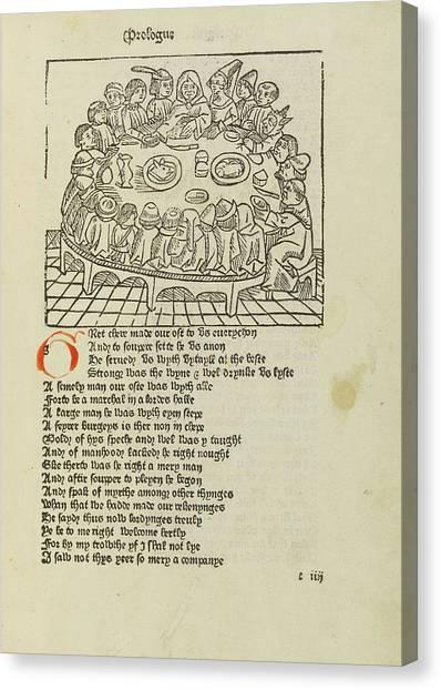 Pilgrims Canvas Print - Canterbury Pilgrims by British Library