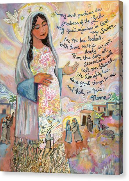 Biblical Canvas Print - Canticle Of Mary by Jen Norton