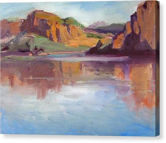 Canyon Lake Of Arizona Canvas Print by Mitzi Lai