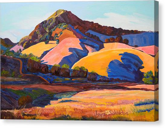 Cal Poly Canvas Print - Canyon Shadows Johnson Ranch Trail by Jayne Schelden