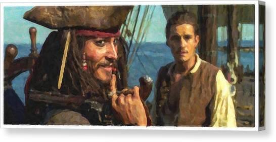 Orlando Bloom Canvas Print - Cap. Jack Sparrow by Himanshu  Dubey