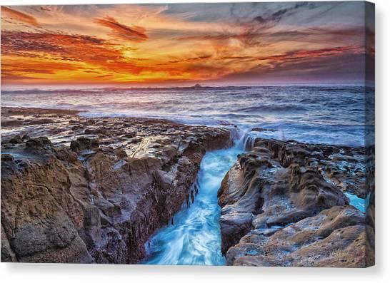 Ocean Sunsets Canvas Print - Cape Arago Crevasse Hdr by Robert Bynum