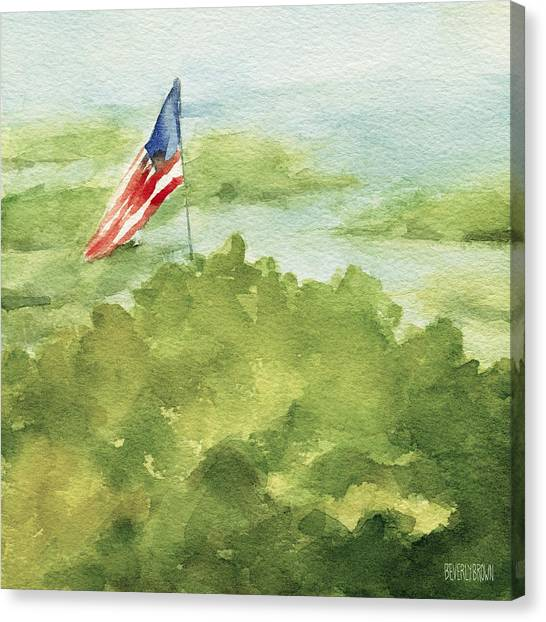 Flag Canvas Print - Cape Cod Beach With American Flag Painting by Beverly Brown