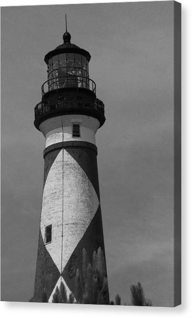 Cape Lookout Light Black And White 2  Canvas Print