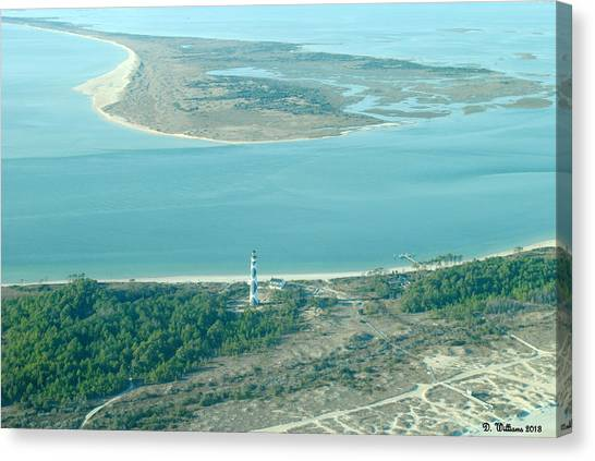 Cape Lookout Lighthouse From The Air Canvas Print