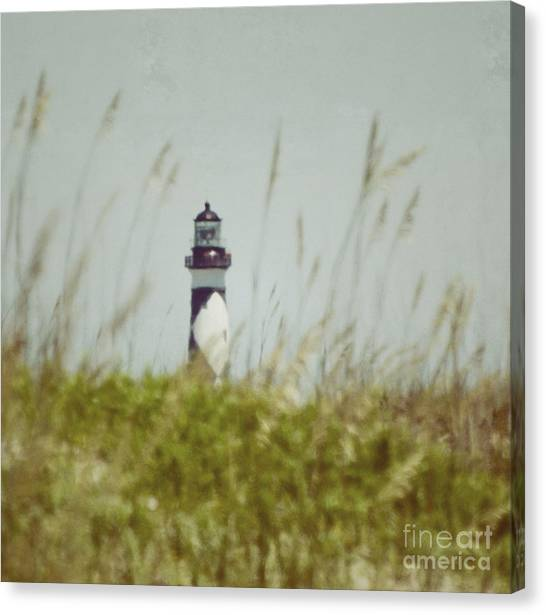 Cape Lookout Lighthouse - Vintage Canvas Print