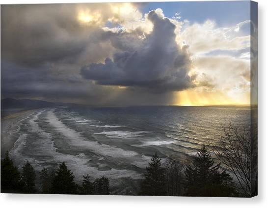 Sunset At Cape Lookout Oregon Coast Canvas Print