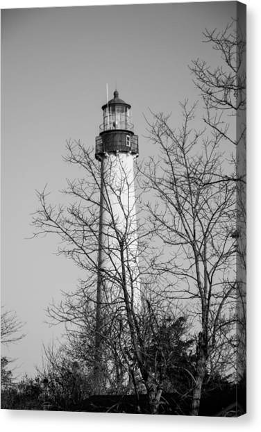 Cape May Light B/w Canvas Print