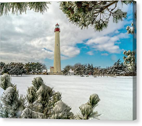 Cape May Light Thru Snowy Trees Canvas Print