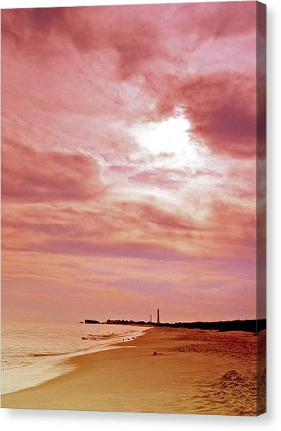 Cape May New Jersey Sunset With Lighthouse In The Distance Canvas Print