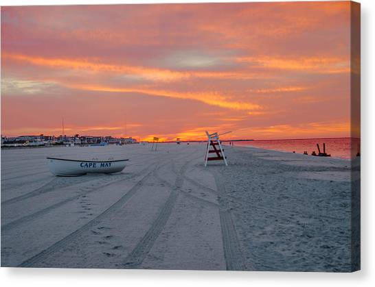 Lifeguard Canvas Print - Cape May Seascape by Bill Cannon