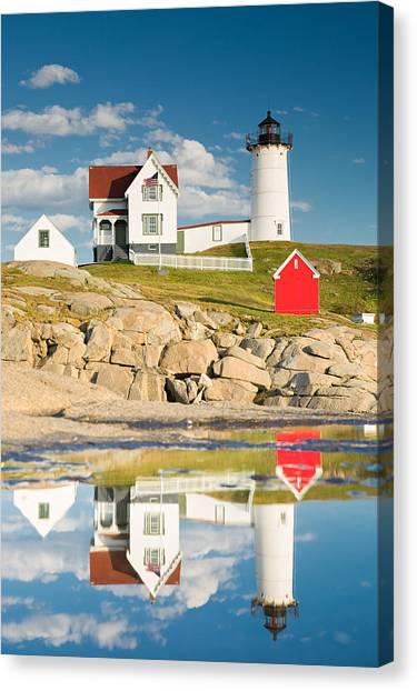 Golden Eagle Canvas Print - Cape Neddick Light  Reflections by Emmanuel Panagiotakis
