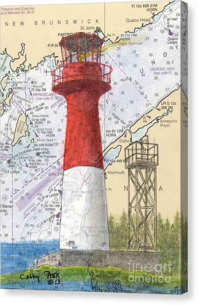 New Brunswick Canvas Print - Cape Spencer Lighthouse Nb Canada Nautical Chart Map Art by Cathy Peek