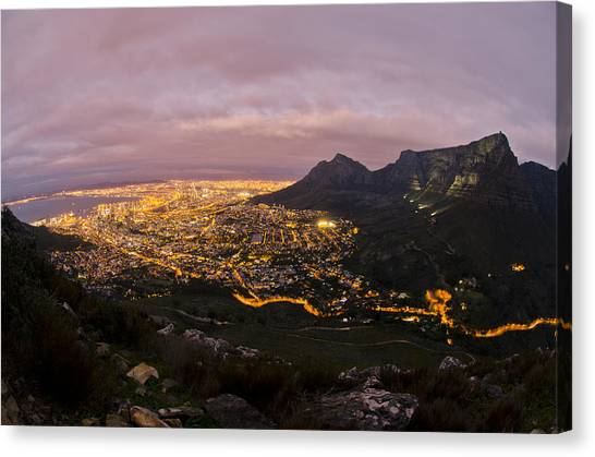 Table Mountain Canvas Print - Cape Town Nights by Aaron Bedell