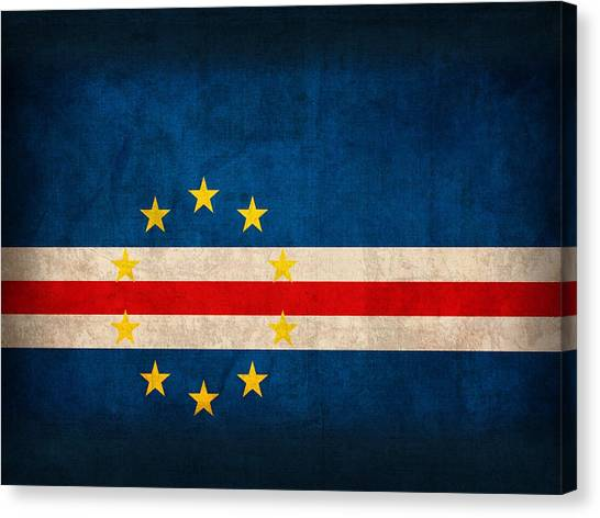 Verde Canvas Print - Cape Verde Flag Vintage Distressed Finish by Design Turnpike