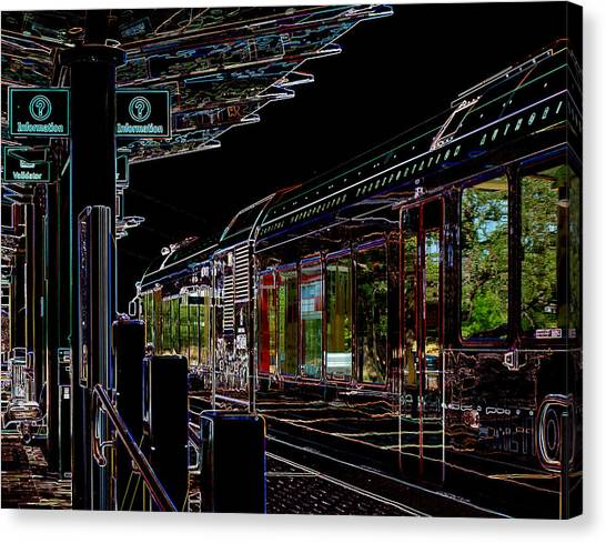 Capital Metro Rail In Neon Canvas Print