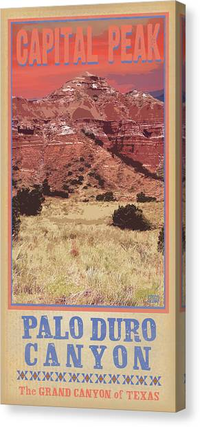 Archeology Canvas Print - Capital Peak Palo Duro Canyon by Jim Sanders