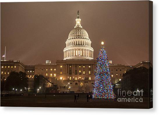 Capitol Christmas Canvas Print