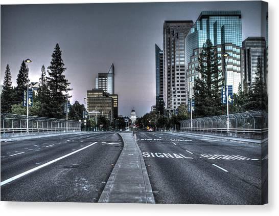 Sacramento State Canvas Print - Capitol Mall Sacramento by SC Heffner