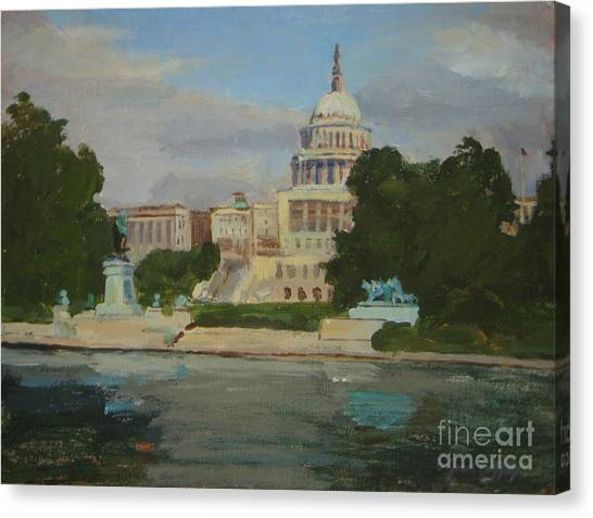 D.c. United Canvas Print - Capitol Reflections by Joan Coffey