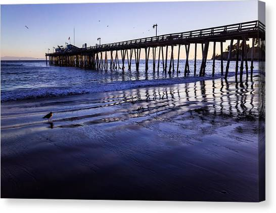 Canvas Print featuring the photograph Capitola Wharf Reflections by Priya Ghose