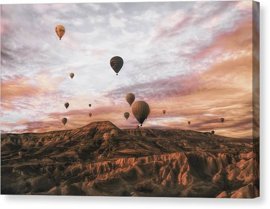 Hot Air Balloons Canvas Print - Cappodocia Hot Air Balloon by Ayse  Yorgancilar