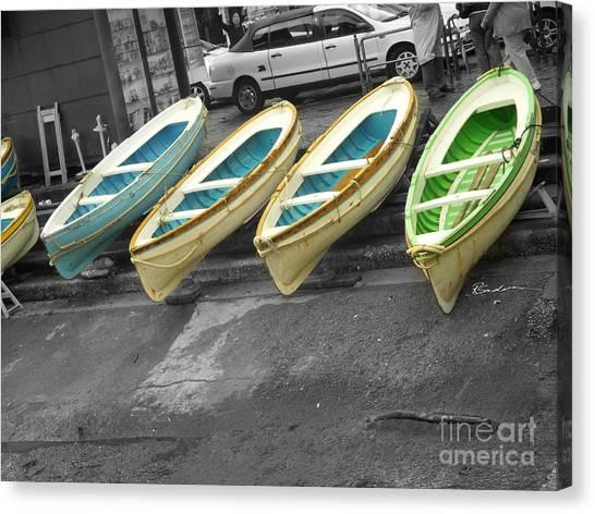 Capri Italy Aqua Green Boats Canvas Print