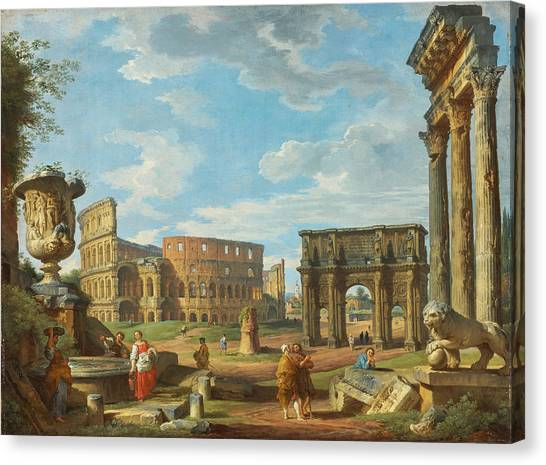 The Colosseum Canvas Print - Capricio Of Roman Monuments With The Colosseum And Arch Of Constantine by Giovanni Paolo Panini