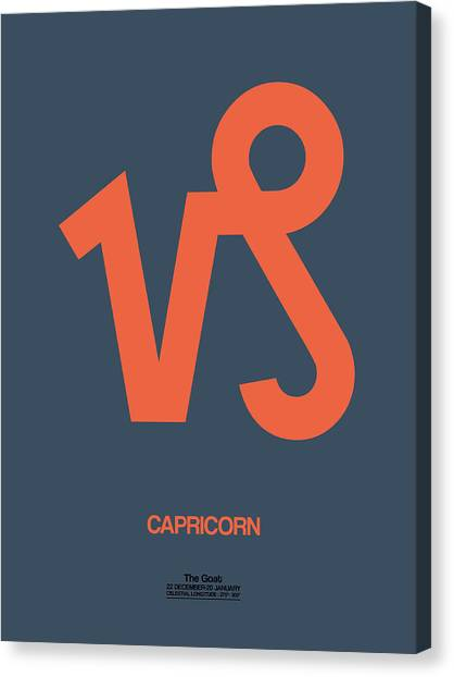 Signs Canvas Print - Capricorn Zodiac Sign Orange by Naxart Studio