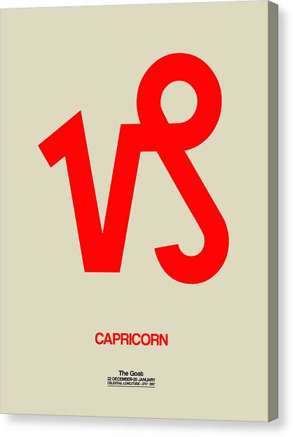 Signs Canvas Print - Capricorn Zodiac Sign Red by Naxart Studio