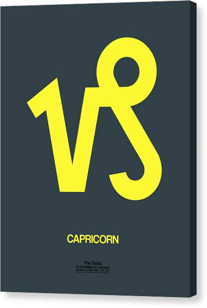 Signs Canvas Print - Capricorn Zodiac Sign Yellow by Naxart Studio