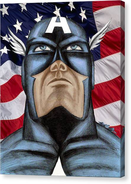 Captain America Canvas Print by Michael Mestas