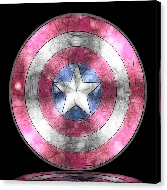 Captain America Shield Digital Painting Canvas Print