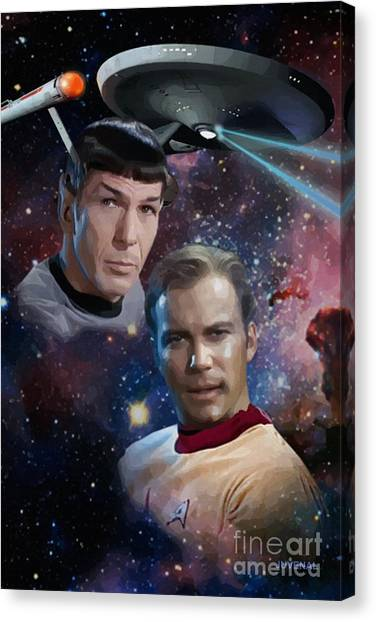 James T. Kirk Canvas Print - Captain And First Officer by Joseph Juvenal