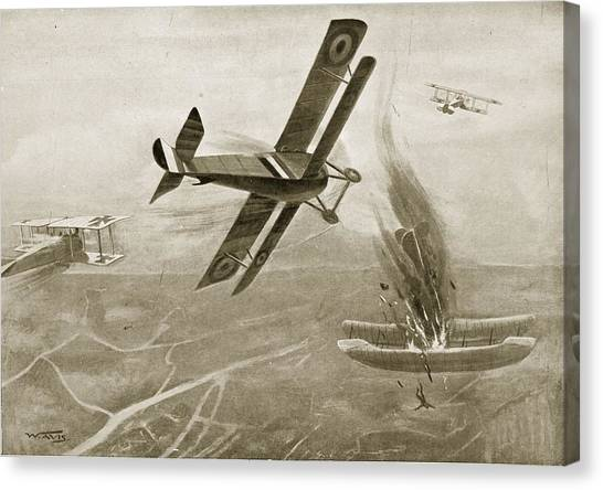 Scouting Canvas Print - Captain Hawkers Aerial Battle by W. Avis