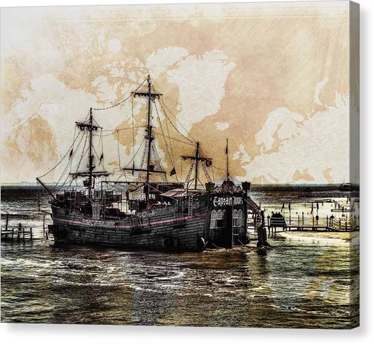 Canvas Print featuring the digital art Captain Hook Cancun by William Havle