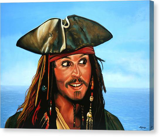 Flag Canvas Print - Captain Jack Sparrow Painting by Paul Meijering