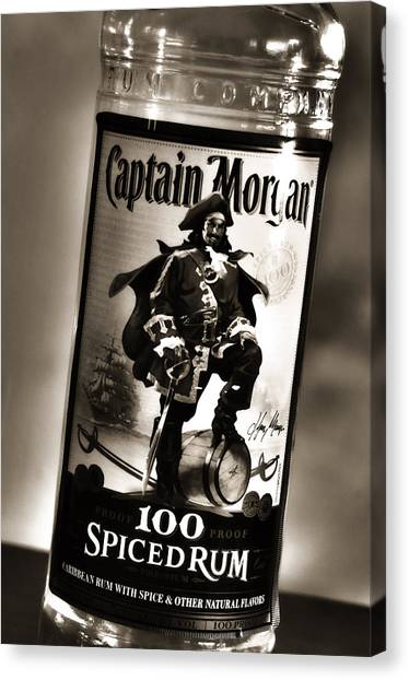 Captain Morgan Black And White Canvas Print