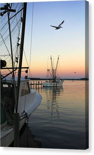 Shrimp Boats Canvas Print - Captain Tony - In For The Night by Mike McGlothlen